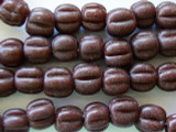 Brown Fluted Glass Irian Jaya Beads 10mm (JV207)