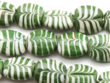 Olive Green & White Feather Tabular Glass Beads 16-18mm (JV222)