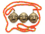 Triple Headhunter Pendant Necklace - Nagaland (NP167)