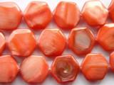Flamingo Pink Tabular Hexagon Shell Beads 20mm (SH173)