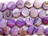 Purple Round Tabular Shell Beads 15mm (SH179)