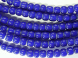 Cobalt Blue White Heart Trade Beads 7mm (AT3776)