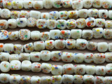 Ivory Speckled Glass Beads 10mm (JV467)