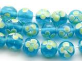 Lime Green & Aqua Glass Beads 11-13mm (JV369)