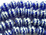 Fiesta Glass - White & Cobalt Blue Beads 10-12mm (JV371)