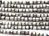 Black & White Glass Beads 5-6mm (JV527)
