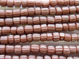 Brown w/White Stripes Glass Beads 4-6mm (JV530)