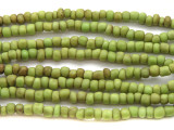 "Antiqued Olive Green Glass Beads - 44"" strand (JV9005)"