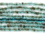 """Transparent Antiqued Aqua Glass Beads 3mm - 44"""" strand (JV9017)"""