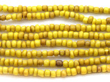 "Yellow Antiqued Glass Beads - 44"" strand (JV9019)"