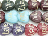 """Love"" Heart Lampwork Glass Beads 18mm (LW1304)"