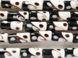 Black, Brown & White Lampwork Glass Beads 18mm (LW1326)