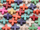 Multi-Color Howlite Cross Gemstone Beads 15mm (GS1978)