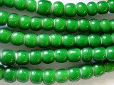 Green White Heart Trade Beads 7-8mm (AT3780)