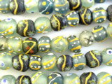 Painted Recycled Glass Beads 12-14mm - Africa (RG453)