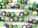 Painted Recycled Glass Beads 12-14mm - Africa (RG456)