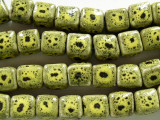 Cube 8-9mm - Glazed Yellow/Lime Porcelain Beads (PO358)