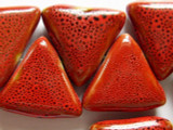 Triangle 28mm - Glazed Rusty Red Porcelain Beads (PO263)