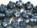 Flower 16-17mm - Glazed Denim Porcelain Beads (PO325)