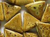 Triangle 28mm - Glazed Yellow Porcelain Beads (PO292)