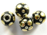 Black Ceramic & Metal Bead 14mm (CM30)