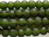 Olive Green Recycled Glass Beads 14-15mm - Africa (RG459)