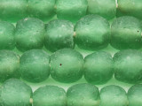Green Coke Bottle Recycled Glass Beads 14-16mm - Africa (RG465)