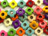 Multi-Color Howlite Flower Gemstone Beads 15mm (GS2432)