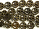 Brown Howlite Peace Sign Gemstone Beads 15mm (GS2433)
