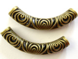 Brass Pewter Bead - Curved Tube 52mm (PB265)