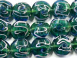 Green & Pink Lampwork Glass Beads 18mm (LW1374)