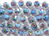Blue w/Pink Roses Faceted Glass Beads 9mm (CRY150)