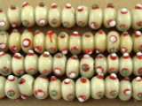 Ivory Eye Glass Beads 7-9mm (JV677)