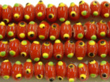 Red Lampwork Eye Glass Beads 8-9mm (JV681)