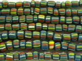 Teal w/Stripes Graduated Glass Beads 4-8mm (JV638)