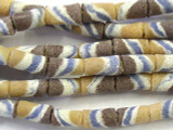 Tan, Brown & Blue Striped Tube Sandcast Glass Beads 12mm (SC848)