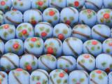 Periwinkle w/Flowers Glass Beads 9-10mm (JV698)