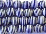 Navy Blue w/Stripes Glass Beads 11-12mm (JV709)