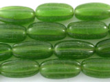 Transparent Lime Green Fluted Glass Beads 30mm (JV766)