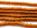 Amber Rondelle Glass Beads 5-7mm (JV727)