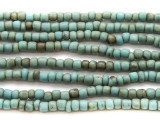 "Turquoise Antiqued Glass Beads 3mm - 44"" strand (JV9027)"