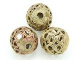 Giant Ornate Brass Ball Bead 32mm - Ghana (ME29)