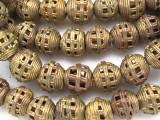 Ornate Brass Ball Metal Beads 14-15mm - Ghana (ME34)