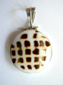 Tiger Shell & Sterling Silver Pendant 23-25mm