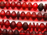 Old Red Faceted Vaseline Beads 16mm (AT32)