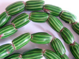 Old Green Chevron Watermelon Beads (AT303)