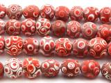Red Jatim Mosaic Javanese Glass Beads (JV73)