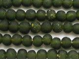 Olive Green Recycled Glass Beads 14-16mm - Africa (RG389)
