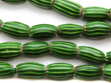 Old Green Watermelon Chevron Trade Beads 15-20mm - Africa (AT216)