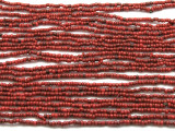 "Small Red Glass Beads - 44"" strand (JV9040)"